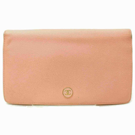Chanel Pink Leather Button Line Bifold Wallet 860991