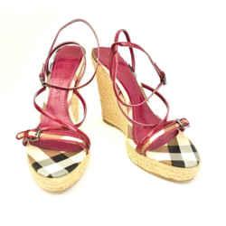 "Burberry: Berry Pink, Leather & ""nova Check"" Wedge Sandals/heels Sz: 9.5m"