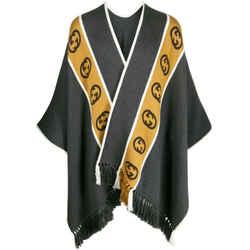 Gucci Unisex Grey Beige Wool Gg Logo Poncho Jergyoncho Jacket Cape 581603 1279