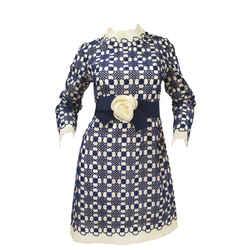 1968 Christian Dior Haute Couture Floral Lattice Lace Mod Dress Original Design