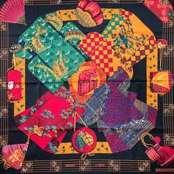 Kimonos Et Inros Hermes Scarf By Annie Faivre 90 Cm Silk Nib