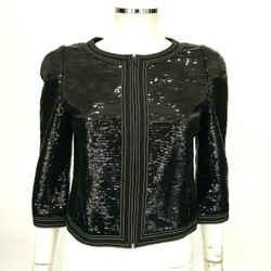 """$5400 Chanel Black Sequin Jacket  Keira Knightly """"little Black Jacket""""  8 Fr 40"""