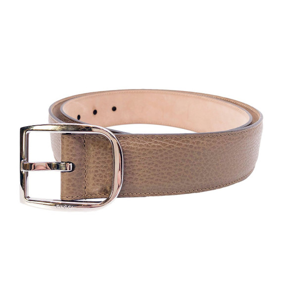 Gucci Mens Acero Brown Dollar Calf Pebbled Leather Silver Hardware Belt 449716 Size 95/38