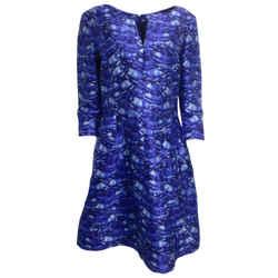Oscar de la Renta Blue Printed Silk Formal Dress