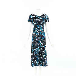 Erdem Dress Blue Floral Print Boat Neck SZ 12 UK