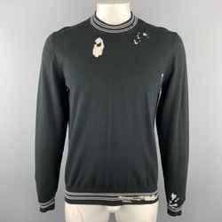 Maison Margiela Size L Black Distressed Cotton Blend Contrast Stripe Trim Pullover Sweater