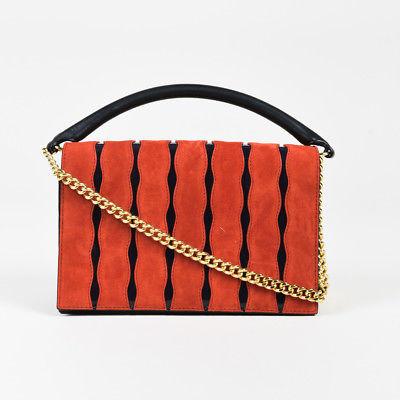 Diane von Furstenberg Red & Black Suede & Patent Leather Chain Strap Satchel Bag