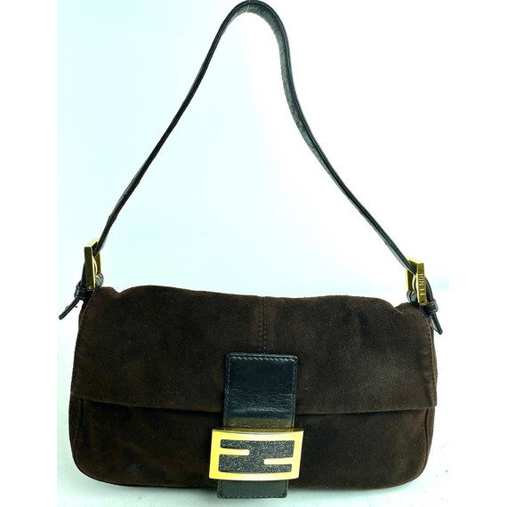 Fendi Suede Brown Forever Mamma Baguette Flap Momma Mama 2f610