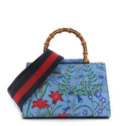 Nymphaea Top Handle Bag Floral Print Leather Mini