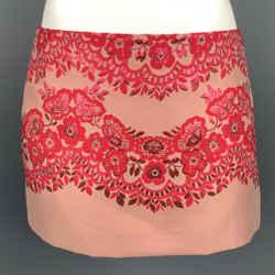 VALENTINO Size 6 Pink Jacquard Polyester Blend Mini Skirt