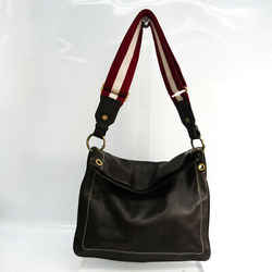 Bally TRENSA Unisex Leather Shoulder Bag Dark Brown BF533894