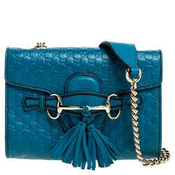 Gucci Blue Mircoguccissima Leather Mini Emily Chain Shoulder Bag