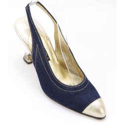 ESCADA Blue Denim Leather Slingback Gold Pump Resin Heel Shoe 7B VINTAGE