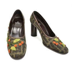 "Fendi ""zucca"": Brown Leather & ""ff"" Logo, Heels/pumps Sz: 7m"