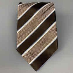 ERMENEGILDO ZEGNA Brown & White Stripe Silk Tie