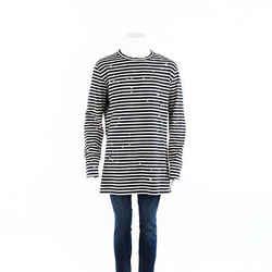 Off-White Shirt Striped Distressed Cotton Men's SZ XL