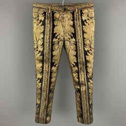 DOLCE & GABBANA Size 28 Black & Gold Metallic Brocade Polyester Blend Dress Pants