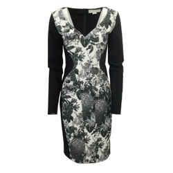 Stella McCartney Black / White Floral Bodycon Cocktail Dress