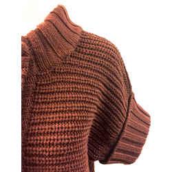 MAX MARA Brown Rib-Knit Wool Short Sleeve Cropped Cardigan Sweater