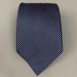 ERMENEGILDO ZEGNA Navy & White Dot Print Silk Tie