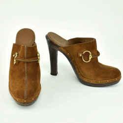 "GUCCI: Antique Brown, Leather & Gold ""Horsebit"" Heels//Mules Sz: 6.5M"