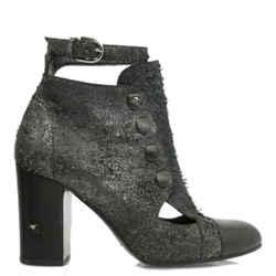 Chanel Metallic Snakeskin Cut Out Heel Boot