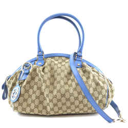 Gucci Sukey Boston Gg Beige Blue Canvas And Leather