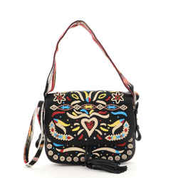 Diorodeo Flap Bag Embroidered Calfskin