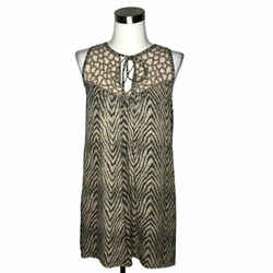 N730 Parker Dress Size Medium Brown Beige Graphics Tunic Sleeveless Silk
