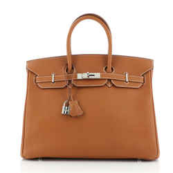 Birkin Handbag Gold Fjord with Palladium Hardware 35