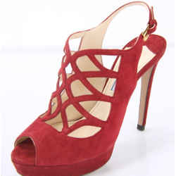 Prada Caged Red Suede Strappy Platform High Heel Sandals Size 36.5 New $850