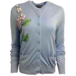 Dolce&Gabbana Light Blue Embroidered Cashmere & Silk Cardigan