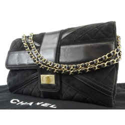 Chanel Black Suede Quilted Maxi Reissue Chain Flap 217680