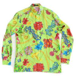 Versace - New Floral Chain Print Button Down Silk Shirt - Green - 40 Large - L
