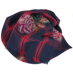 New/authentic Gucci 100% Wool Tartan Roses Scarf, Multicolor