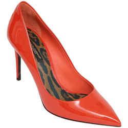 DOLCE & GABBANA Pump Orange Patent Leather 85mm Pointed Toe Leopard Sz 38 NIB