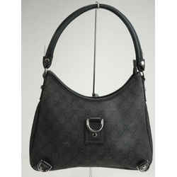 Gucci Denim Monogram Abbey D Ring Hobo - Black