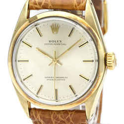 Vintage ROLEX Oyster Perpetual Gold Plated Leather Watch 1025 BF522780