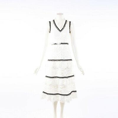 Self Portrait White Lace Tiered Midi Dress SZ 8 UK