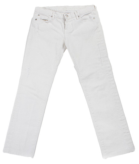 7 For All Mankind Cropped White 'roxanne' Jean