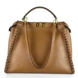Fendi Camel Dark Leather Shoulder Bag