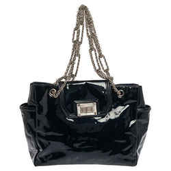Chanel Dark Blue Patent Leather Giant Reissue Lock Chain Link Tote