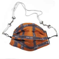 HERMES Vintage Bolduc Ribbon Orange Silk Scarf Face Mask