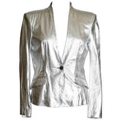Pierre Balmain Jacket Ice Silver Lightweight Leather  42 / 8 Nwt