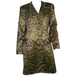 Christian Lacroix Faux Tiger Print And Lace Trench Coat