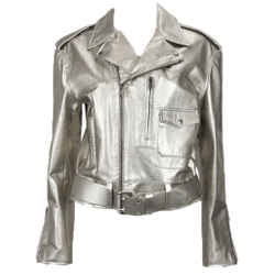 RALPH LAUREN Silver Leather Belted Motorcycle Jacket