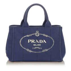 Blue Prada Canapa Logo Canvas Handbag Bag