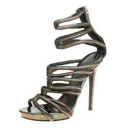 Alexander McQueen Multicolor Oil Slick Texture Leather Gladiator Sandals Size 39