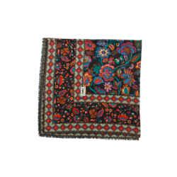 Black & Multicolor Yves Saint Laurent Floral Print Scarf