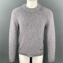 LOUIS VUITTON Size S Light Gray Melange Cotton / Polyamide Raglan Sweater